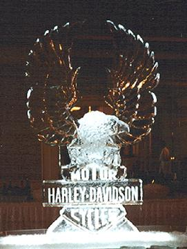 Harley logo in ice world class ice sculpture